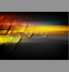 glossy hexagons and glowing stripes abstract tech vector image