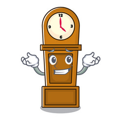 Grinning grandfather clock character cartoon vector