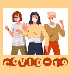 Group women show stop gesture to covid-19 vector