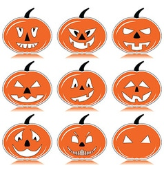 Haloween pumpkins in orange black and white with vector image