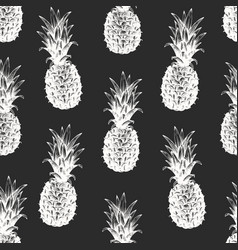 Hand drawn fruits seamless pattern pineapples on vector