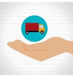 Hand shipping cargo attention vector