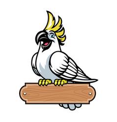 happy cartoon cockatoo bird stand on blank vector image
