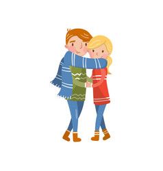 happy couple in love wrapped in one scarf hugging vector image