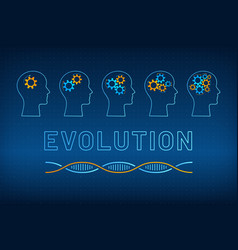Head profile with gear brain evolution concept vector