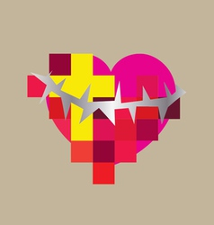 Heart cross contemporary vector