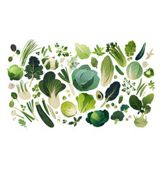 Herbs and vegetables managed into pattern vector