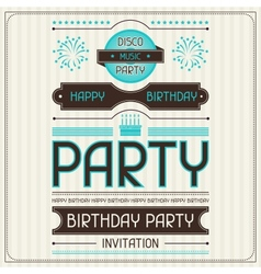 Invitation card for birthday in retro style vector