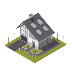 Isometric cottage building private real estate vector