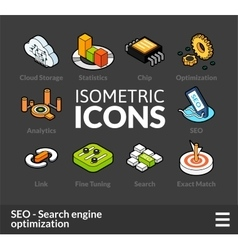 Isometric outline icons set 7 vector