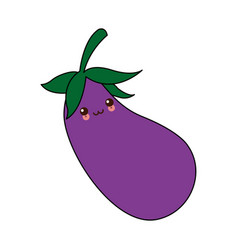 kawaii eggplant vegetable nutrition food diet vector image