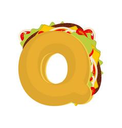 Letter q tacos mexican fast food font taco vector