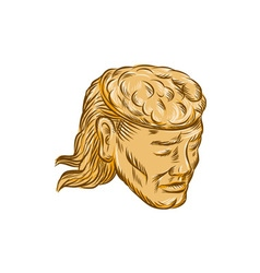 Man Open Head Brain Etching vector