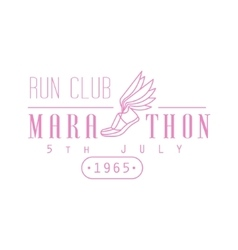 Marathon Running Pink Label Design vector