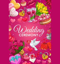 Marriage symbols frame wedding ceremony rite item vector