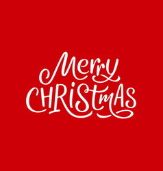 merry christmas calligraphy text on red card vector image