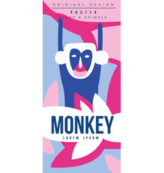 Monkey birds and animals poster original design vector