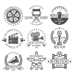 Movies Black White Emblems Set vector image