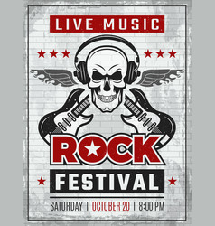 Music festival retro poster rock guitar musical vector