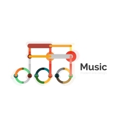 Music note logo flat thin line geometric design vector image