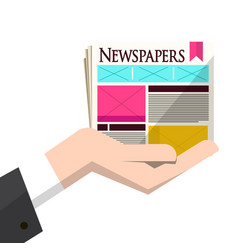 newspapers in human hand isolated on white vector image
