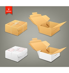 Parcel boxes brown and white box collections vector