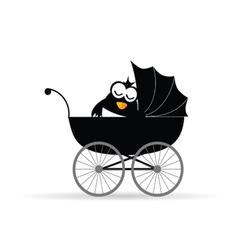penguin in a baby stroller vector image
