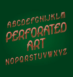 perforated art typeface red golden font isolated vector image