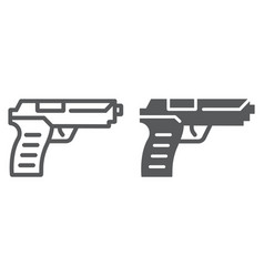 pistol gun line and glyph icon weapon and army vector image