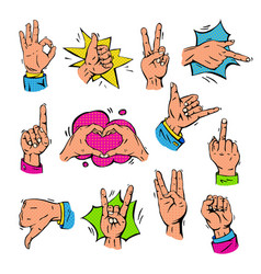 pop art hands fingers showing gesture and human vector image