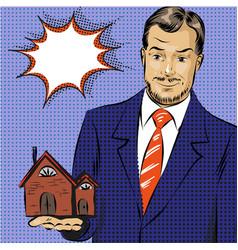 pop art real estate agent vector image