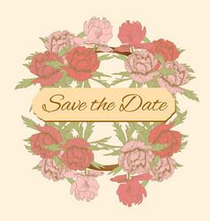 Postcard wedding invitation vintage pink peonies vector
