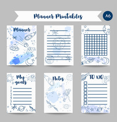 printables space theme planner with hand drawn vector image