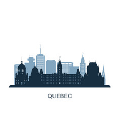 quebec skyline monochrome silhouette vector image