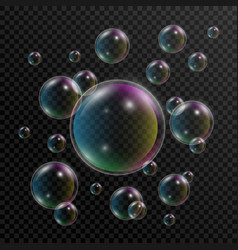 realistic soap bubbles set of soap bubbles with vector image
