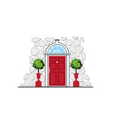 Red door on stone wall house vector