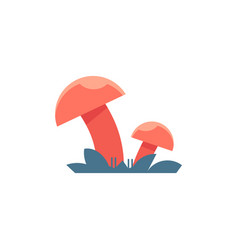 Red mushrooms on grass - symbol of toadstool with vector