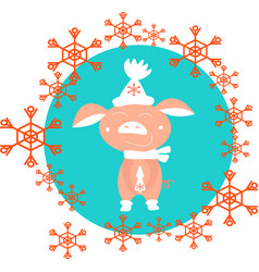 red snowflakes round and cute pig in white hat on vector image
