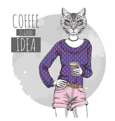 Retro hipster fashion animal cat with coffee vector