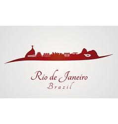 Rio de Janeiro skyline in red vector