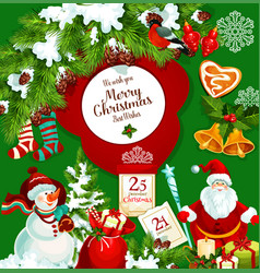 santa claus with christmas gift greeting poster vector image