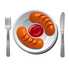 Sausages with sauce vector