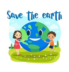 save earth ecology concept cartoon vector image
