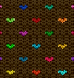 seamless knitted pattern with hearts vector image