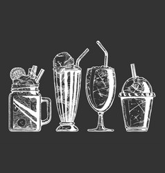 set different milkshake vector image