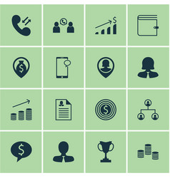Set of 16 management icons includes female vector