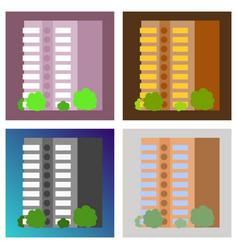 Set of modern multi-storey building vector