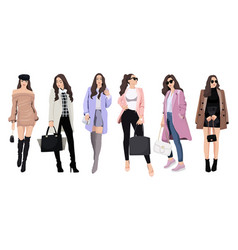 set women dressed in stylish trendy clothes vector image