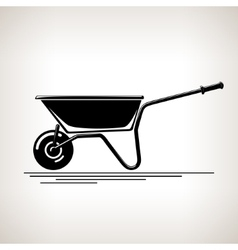 Silhouette a Wheelbarrow on a Light Background vector