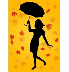 Silhouette of woman holding an umbrella vector